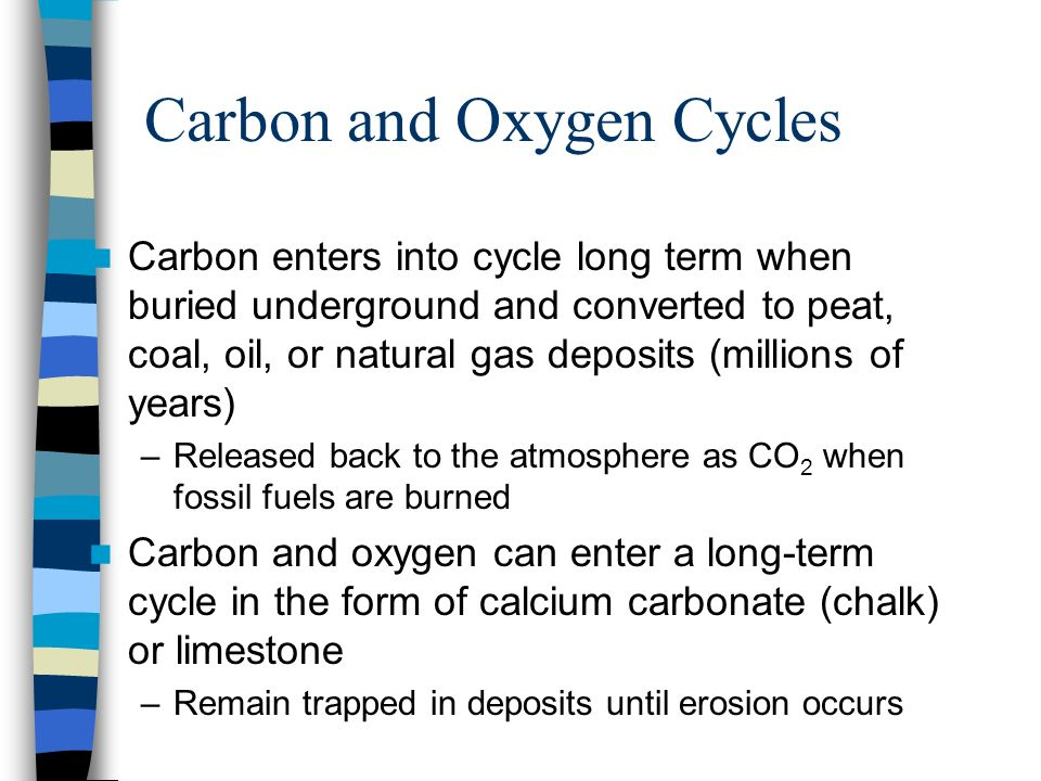 Carbon and Oxygen Cycles Carbon enters into cycle long term when buried underground and converted to peat, coal, oil, or natural gas deposits (million