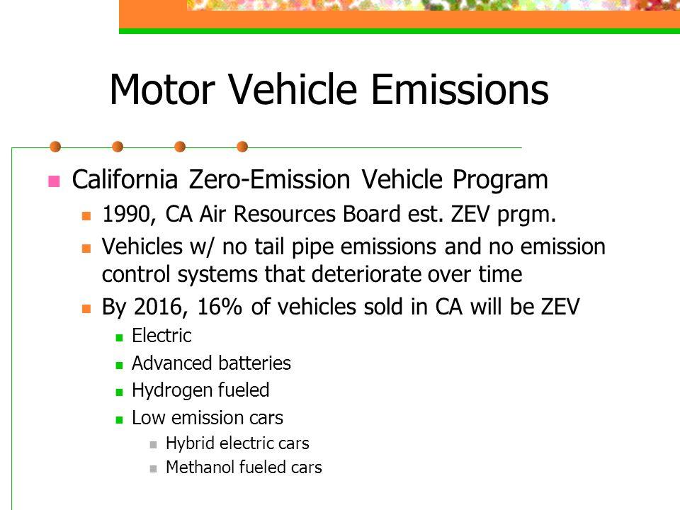 Motor Vehicle Emissions California Zero-Emission Vehicle Program 1990, CA Air Resources Board est.