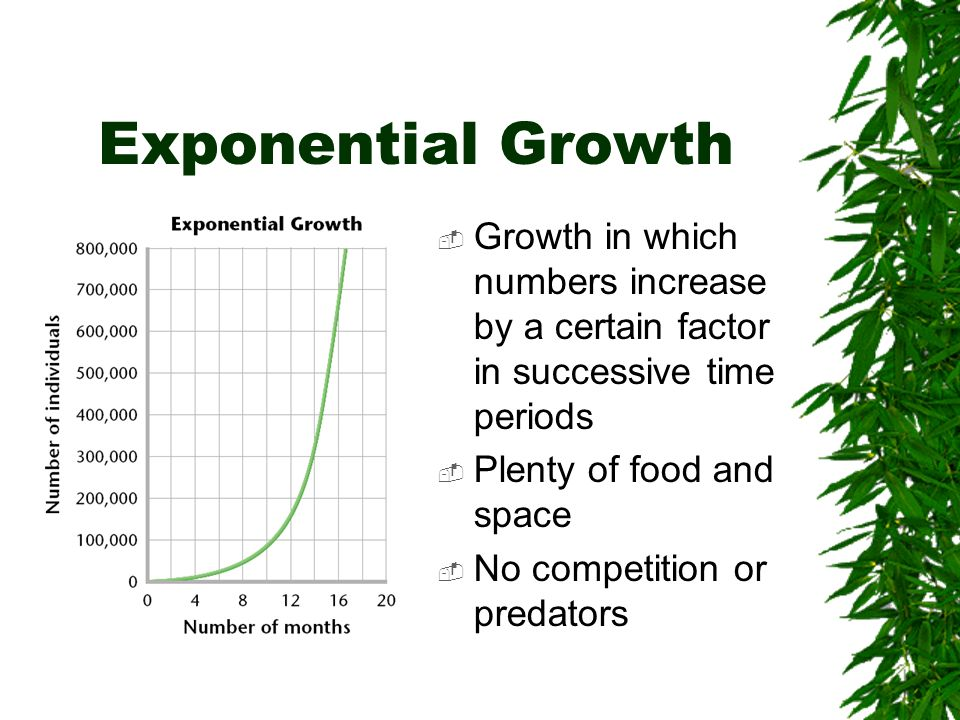Exponential Growth Growth in which numbers increase by a certain factor in successive time periods Plenty of food and space No competition or predator