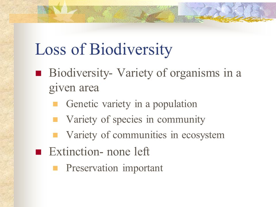 Loss of Biodiversity Biodiversity- Variety of organisms in a given area Genetic variety in a population Variety of species in community Variety of com
