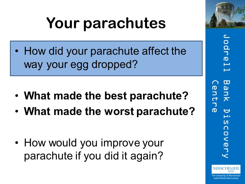 Your parachutes How did your parachute affect the way your egg dropped.