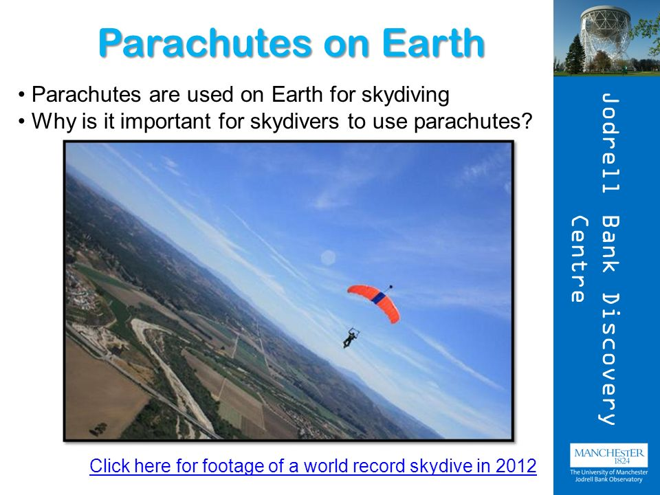 Parachutes on Earth Parachutes are used on Earth for skydiving Why is it important for skydivers to use parachutes.