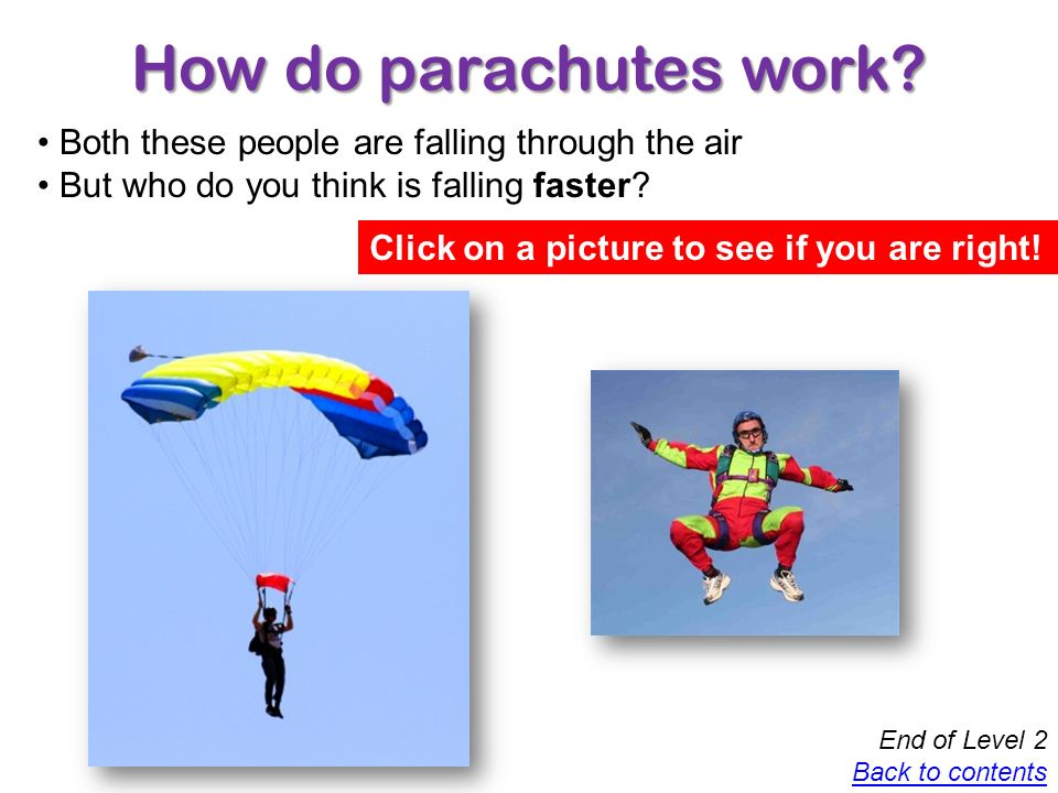Congratulations.You have completed your investigation into parachutes What have you learnt today.