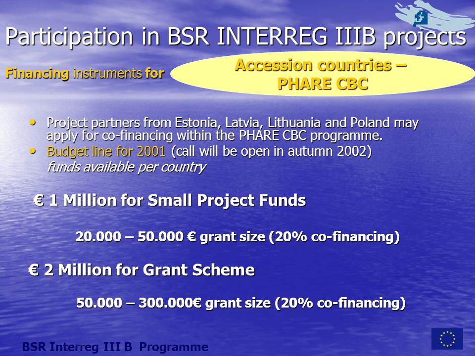 Participation in BSR INTERREG IIIB projects Project partners from Estonia, Latvia, Lithuania and Poland may apply for co-financing within the PHARE CBC programme.