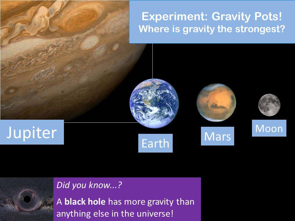Jump to an experiment: Click a link below to jump to that experiment Gravity Pots Cratering Density Seasons How do we see? You can also move through t