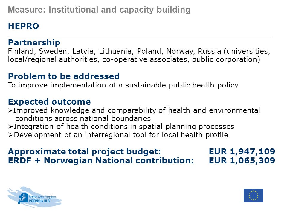 Measure: Institutional and capacity building HEPRO Partnership Finland, Sweden, Latvia, Lithuania, Poland, Norway, Russia (universities, local/regiona