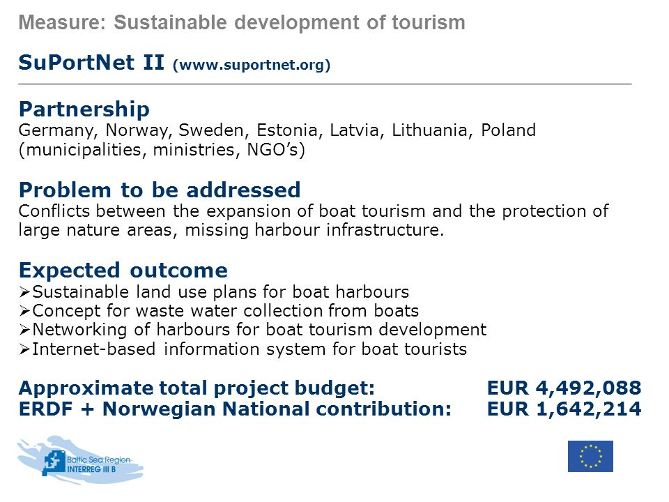 Measure: Sustainable development of tourism SuPortNet II (www.suportnet.org) Partnership Germany, Norway, Sweden, Estonia, Latvia, Lithuania, Poland (