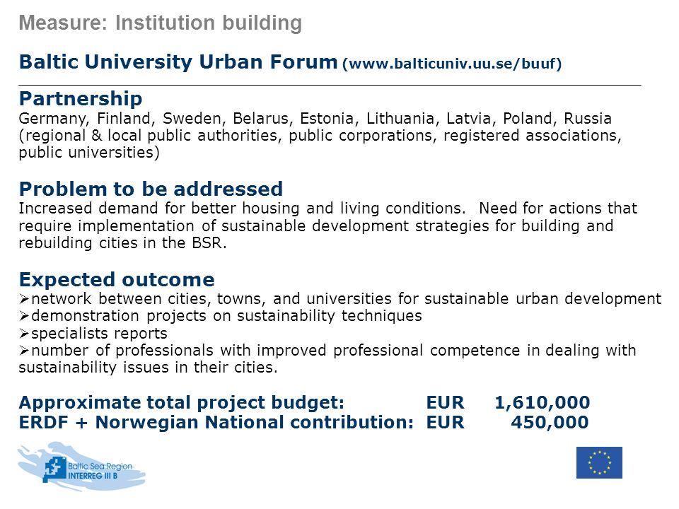 Measure: Institution building Baltic University Urban Forum (www.balticuniv.uu.se/buuf) Partnership Germany, Finland, Sweden, Belarus, Estonia, Lithua