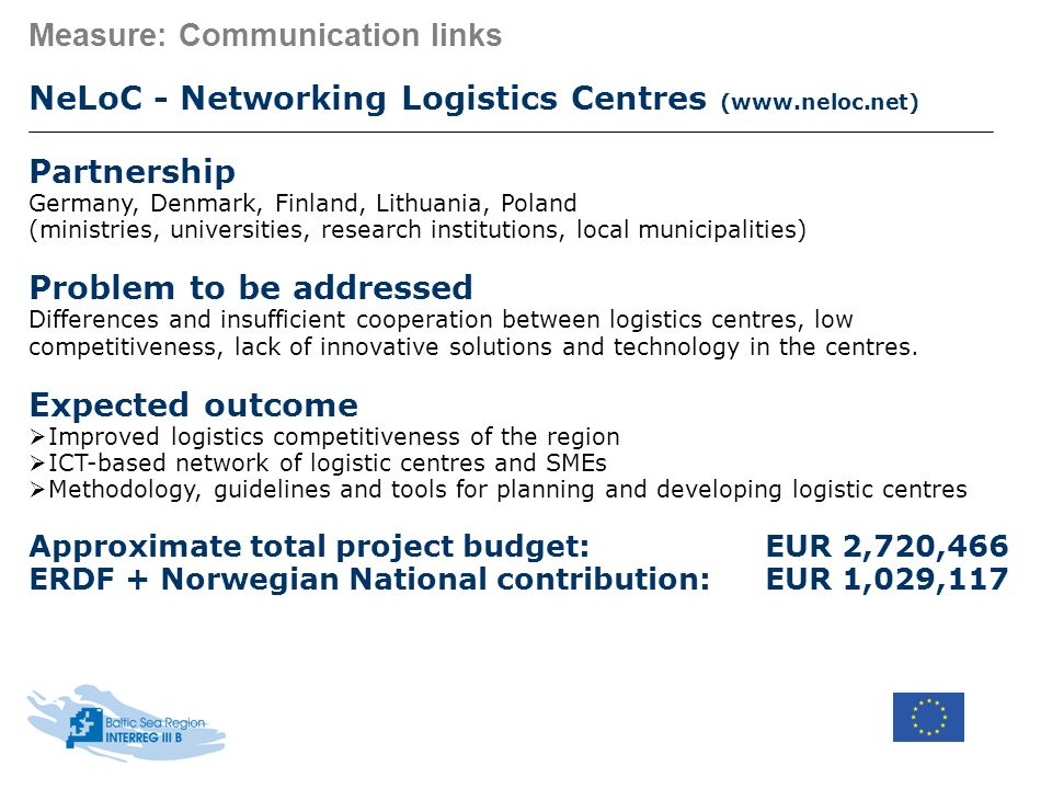 Measure: Communication links NeLoC - Networking Logistics Centres (www.neloc.net) Partnership Germany, Denmark, Finland, Lithuania, Poland (ministries