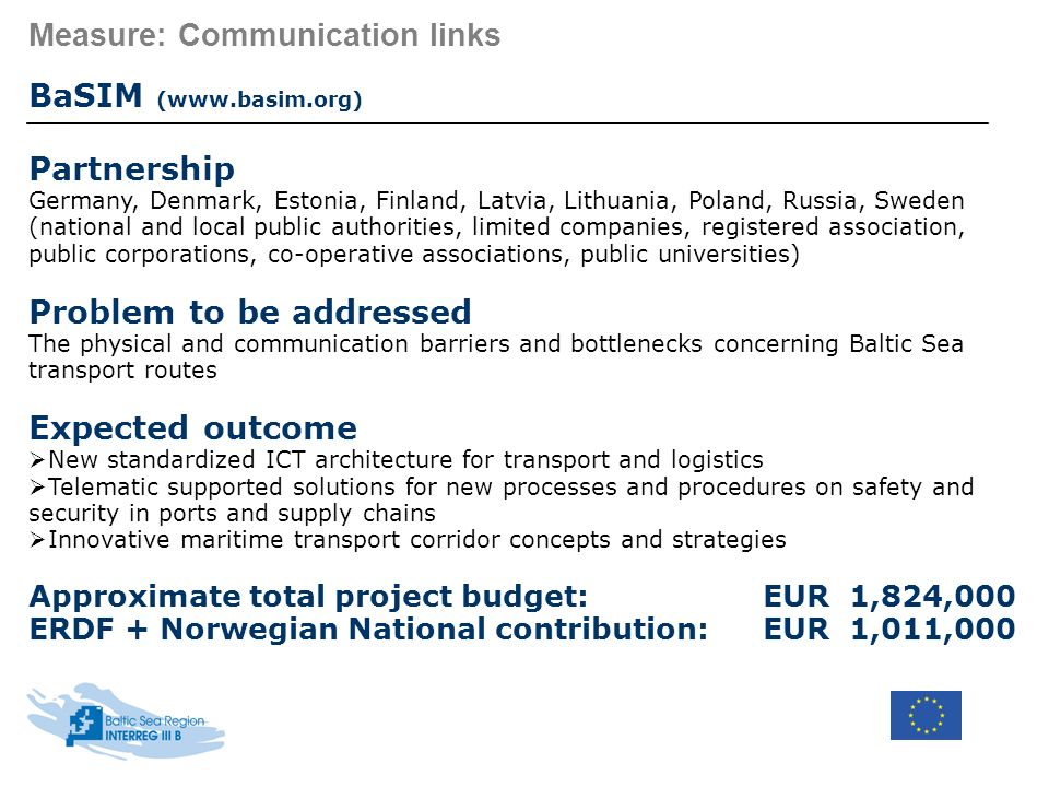 Measure: Communication links BaSIM (www.basim.org) Partnership Germany, Denmark, Estonia, Finland, Latvia, Lithuania, Poland, Russia, Sweden (national