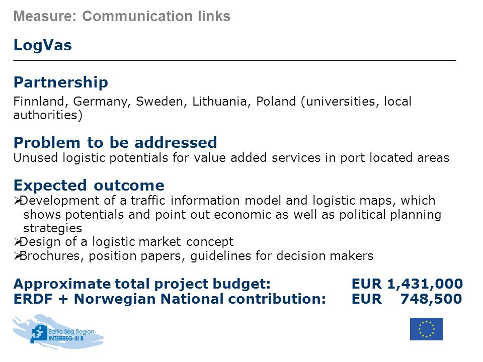 Measure: Communication links LogVas Partnership Finnland, Germany, Sweden, Lithuania, Poland (universities, local authorities) Problem to be addressed