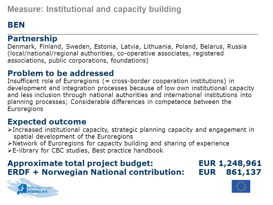 Measure: Institutional and capacity building BEN Partnership Denmark, Finland, Sweden, Estonia, Latvia, Lithuania, Poland, Belarus, Russia (local/nati