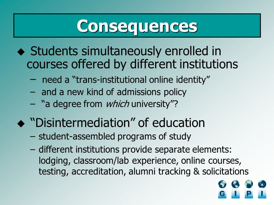 Consequences Students simultaneously enrolled in courses offered by different institutions – need a trans-institutional online identity – and a new ki