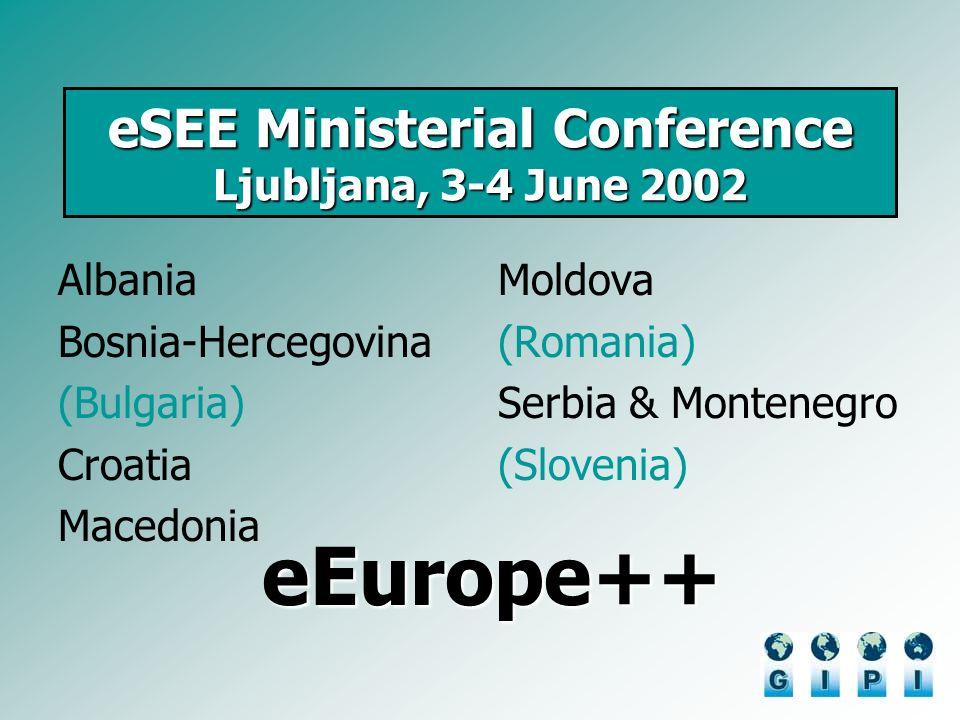 eSEE Ministerial Conference Ljubljana, 3-4 June 2002 Albania Bosnia-Hercegovina (Bulgaria) Croatia Macedonia Moldova (Romania) Serbia & Montenegro (Slovenia) eEurope++