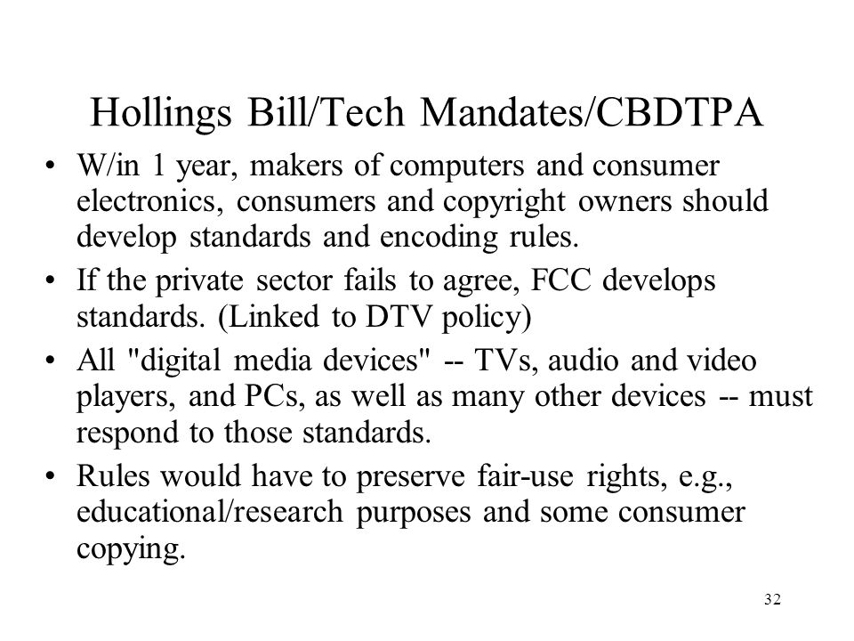 33 CONCLUSION Digital technology has posed many difficult questions and problems for copyright law Much remains in controversy; how current cases are resolved matters a lot Possible to build balance into law, but US selling broad anti-circumvention rules.