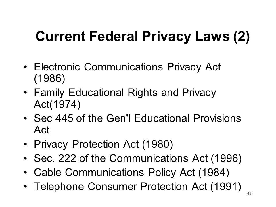 47 EU Data Protection Directive Implemented country-by-country FIPs - obligations on data processors Data protection commissioners Exceptions Transborder flow –Adequate level of protection –US - EU Safe harbor http://www.cdt.org/privacy/eudirective/