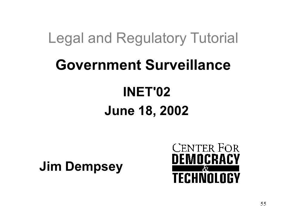 55 Legal and Regulatory Tutorial Government Surveillance INET'02 June 18, 2002 Jim Dempsey