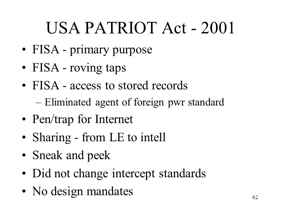 63 The Matrix 2703 (d) specific and articulable facts court order (for all other non- content records), consent Subpoena with notice (for files, opened email) or consent Other Records (subscriber and transactional data) Contents of Communications Pen register/ trap and trace order or consent Title III order or consent, generally Acquisition in Real Time Subpoena (for basic subscriber info only), consent Warrant (for unopened email) or consent Historical Information