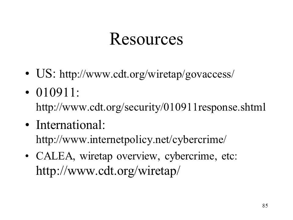 85 Resources US: http://www.cdt.org/wiretap/govaccess/ 010911: http://www.cdt.org/security/010911response.shtml International: http://www.internetpoli