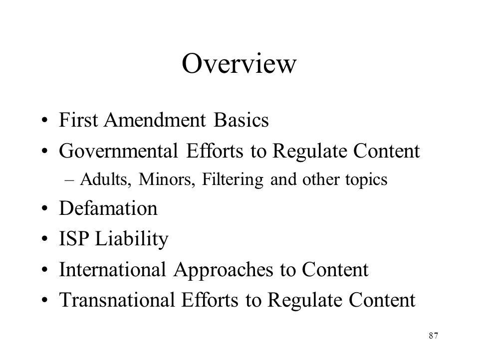 88 First Amendment Basics The First Amendment –Congress shall make no law...