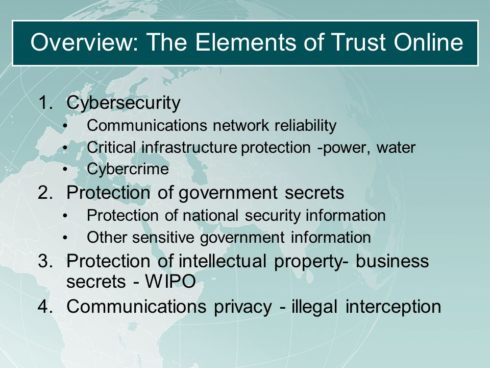Overview: The Elements of Trust Online 1.Cybersecurity Communications network reliability Critical infrastructure protection -power, water Cybercrime 2.Protection of government secrets Protection of national security information Other sensitive government information 3.Protection of intellectual property- business secrets - WIPO 4.Communications privacy - illegal interception