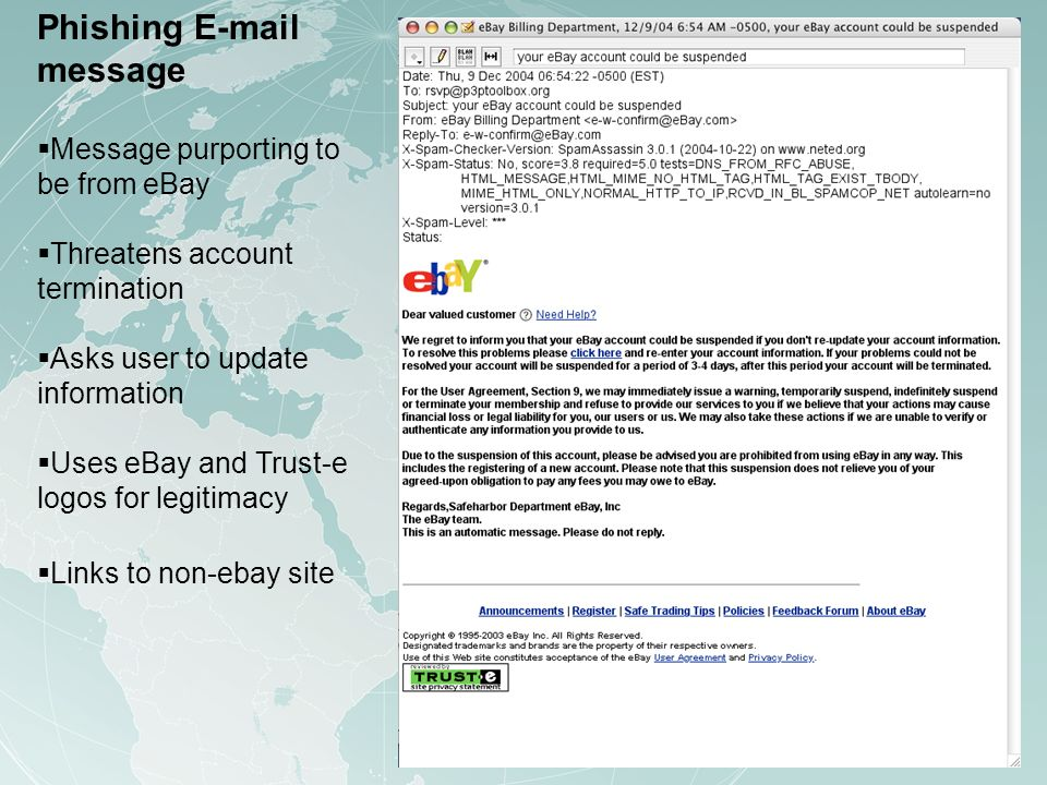 Phishing E-mail message Message purporting to be from eBay Threatens account termination Asks user to update information Uses eBay and Trust-e logos for legitimacy Links to non-ebay site
