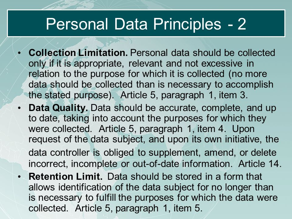 Personal Data Principles - 2 Collection Limitation.