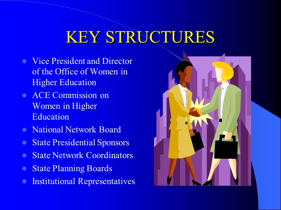 KEY STRUCTURES Vice President and Director of the Office of Women in Higher Education ACE Commission on Women in Higher Education National Network Board State Presidential Sponsors State Network Coordinators State Planning Boards Institutional Representatives