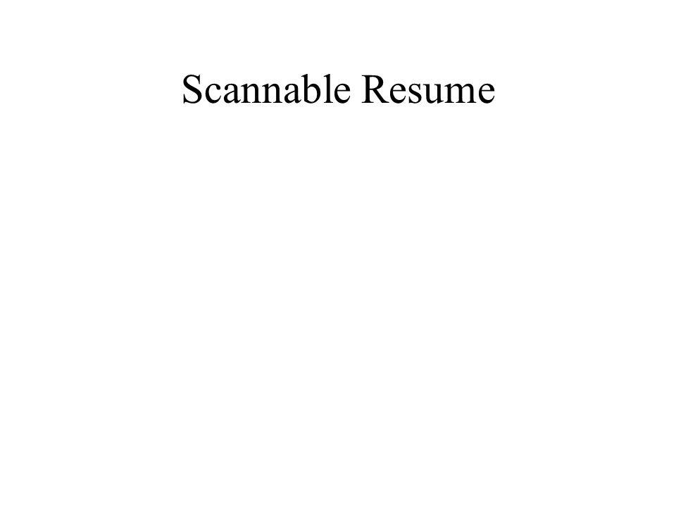 Scannable Resume