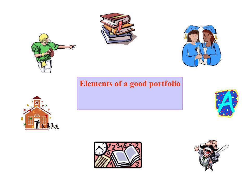 Elements of a good portfolio