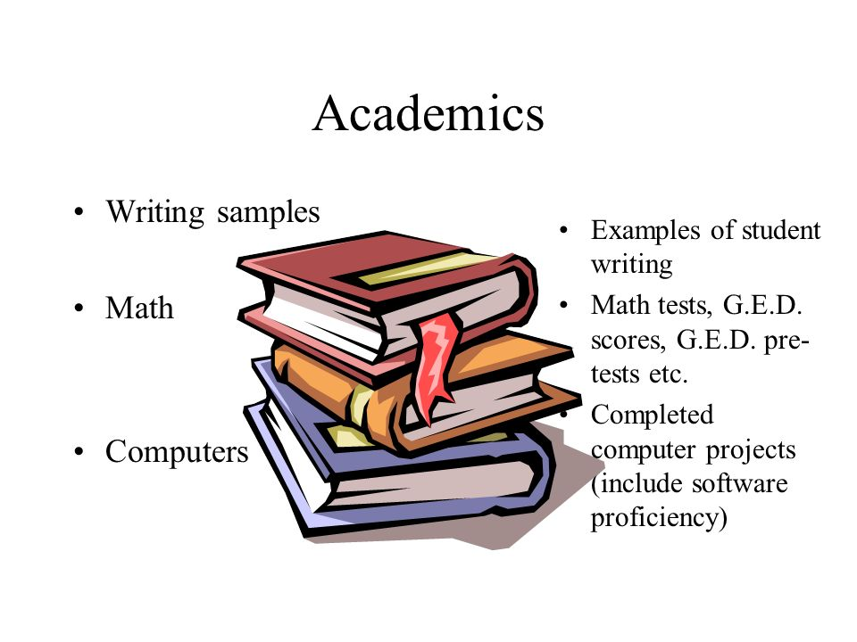 Academics Writing samples Math Computers Examples of student writing Math tests, G.E.D.