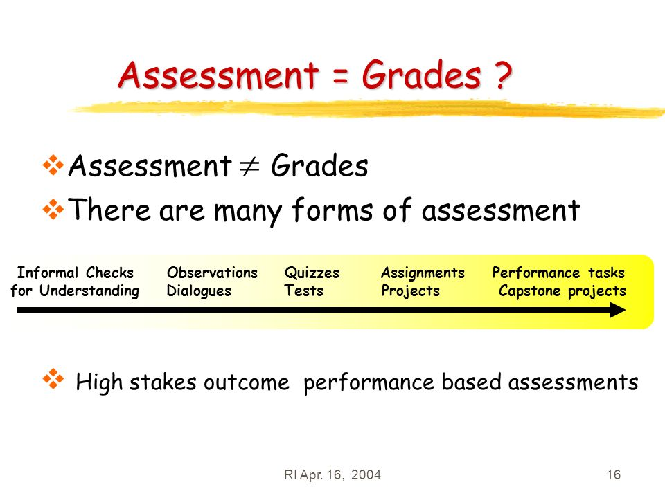 RI Apr. 16, 200416 Assessment = Grades .