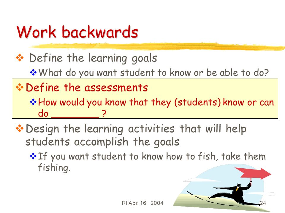 RI Apr. 16, 200424 Define the learning goals What do you want student to know or be able to do.