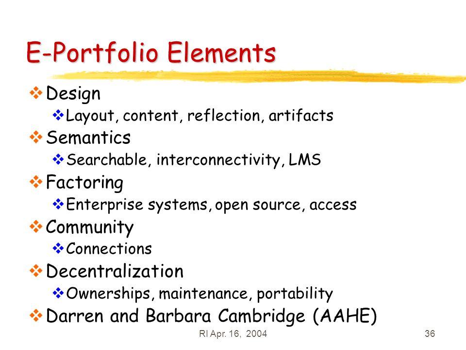 RI Apr. 16, 200436 E-Portfolio Elements Design Layout, content, reflection, artifacts Semantics Searchable, interconnectivity, LMS Factoring Enterpris