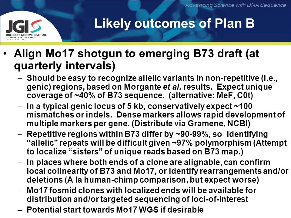 Advancing Science with DNA Sequence Likely outcomes of Plan B Align Mo17 shotgun to emerging B73 draft (at quarterly intervals) –Should be easy to recognize allelic variants in non-repetitive (i.e., genic) regions, based on Morgante et al.