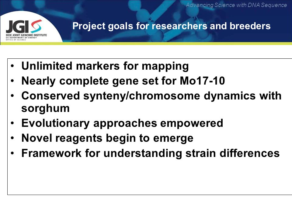 Advancing Science with DNA Sequence Project goals for researchers and breeders Unlimited markers for mapping Nearly complete gene set for Mo17-10 Conserved synteny/chromosome dynamics with sorghum Evolutionary approaches empowered Novel reagents begin to emerge Framework for understanding strain differences