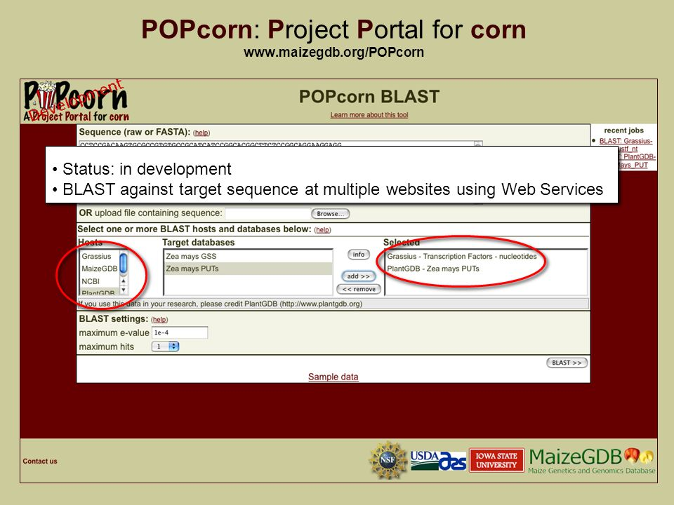 13 POPcorn: Project Portal for corn   Status: in development BLAST against target sequence at multiple websites using Web Services Status: in development BLAST against target sequence at multiple websites using Web Services