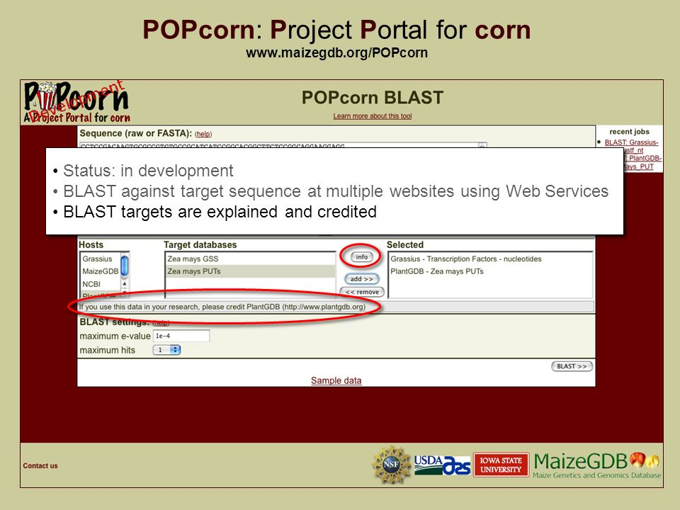 14 POPcorn: Project Portal for corn   Status: in development BLAST against target sequence at multiple websites using Web Services BLAST targets are explained and credited Status: in development BLAST against target sequence at multiple websites using Web Services BLAST targets are explained and credited