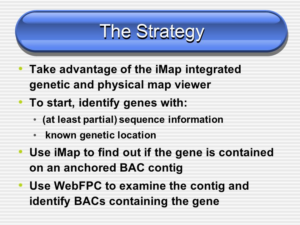 The Strategy Take advantage of the iMap integrated genetic and physical map viewer To start, identify genes with: (at least partial) sequence informat