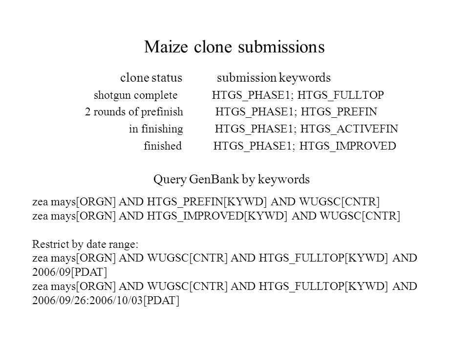 Maize clone submissions clone status submission keywords shotgun complete HTGS_PHASE1; HTGS_FULLTOP 2 rounds of prefinish HTGS_PHASE1; HTGS_PREFIN in