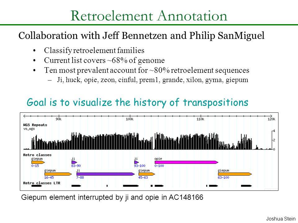 Retroelement Annotation Classify retroelement families Current list covers ~68% of genome Ten most prevalent account for ~80% retroelement sequences –