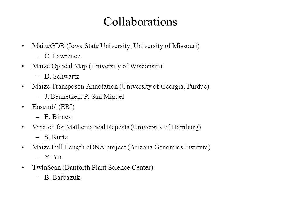 Collaborations MaizeGDB (Iowa State University, University of Missouri) –C. Lawrence Maize Optical Map (University of Wisconsin) –D. Schwartz Maize Tr