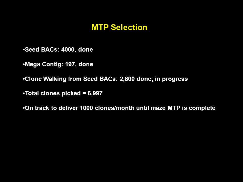 MTP Selection Seed BACs: 4000, done Mega Contig: 197, done Clone Walking from Seed BACs: 2,800 done; in progress Total clones picked = 6,997 On track