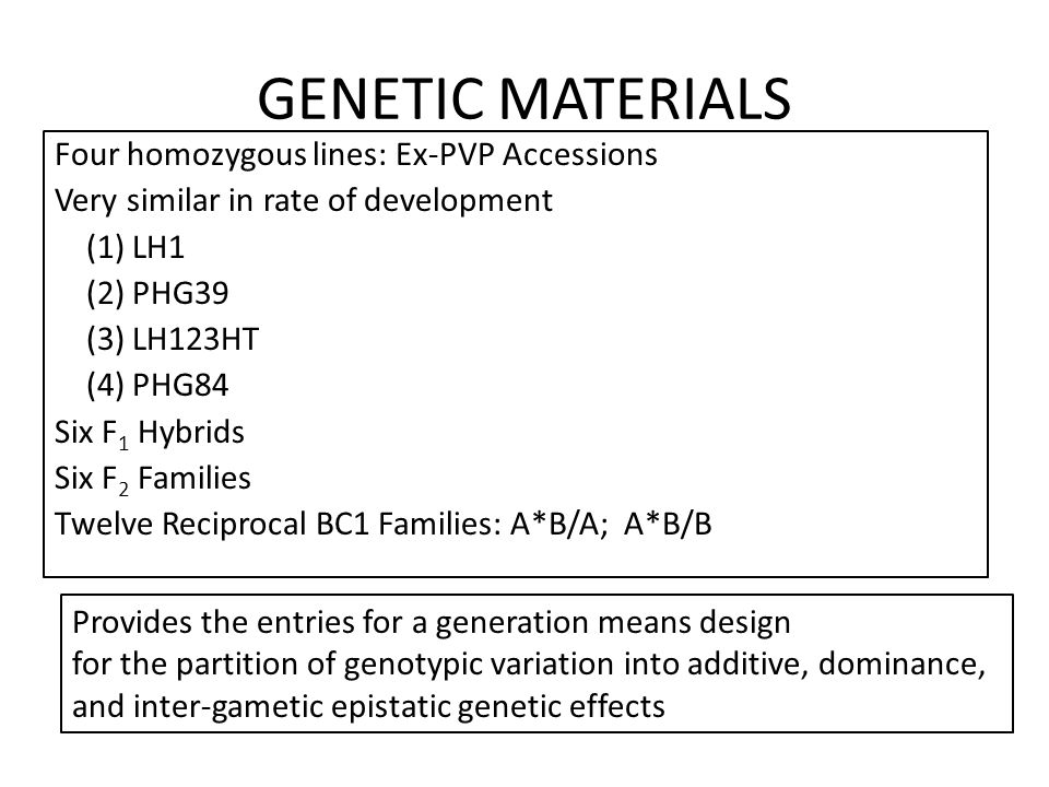 GENETIC MATERIALS Four homozygous lines: Ex-PVP Accessions Very similar in rate of development (1) LH1 (2) PHG39 (3) LH123HT (4) PHG84 Six F 1 Hybrids Six F 2 Families Twelve Reciprocal BC1 Families: A*B/A; A*B/B Provides the entries for a generation means design for the partition of genotypic variation into additive, dominance, and inter-gametic epistatic genetic effects