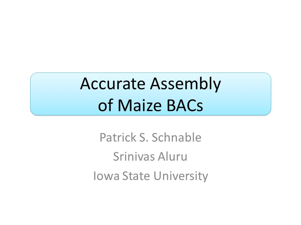 Accurate Assembly of Maize BACs Patrick S. Schnable Srinivas Aluru Iowa State University