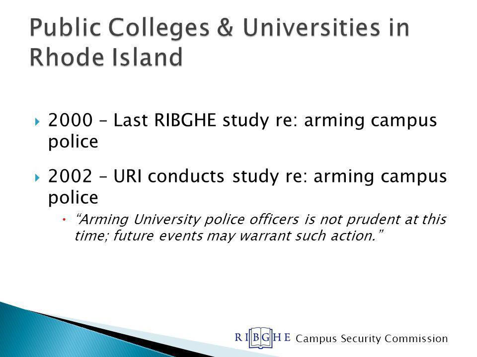 2000 – Last RIBGHE study re: arming campus police 2002 – URI conducts study re: arming campus police Arming University police officers is not prudent at this time; future events may warrant such action.