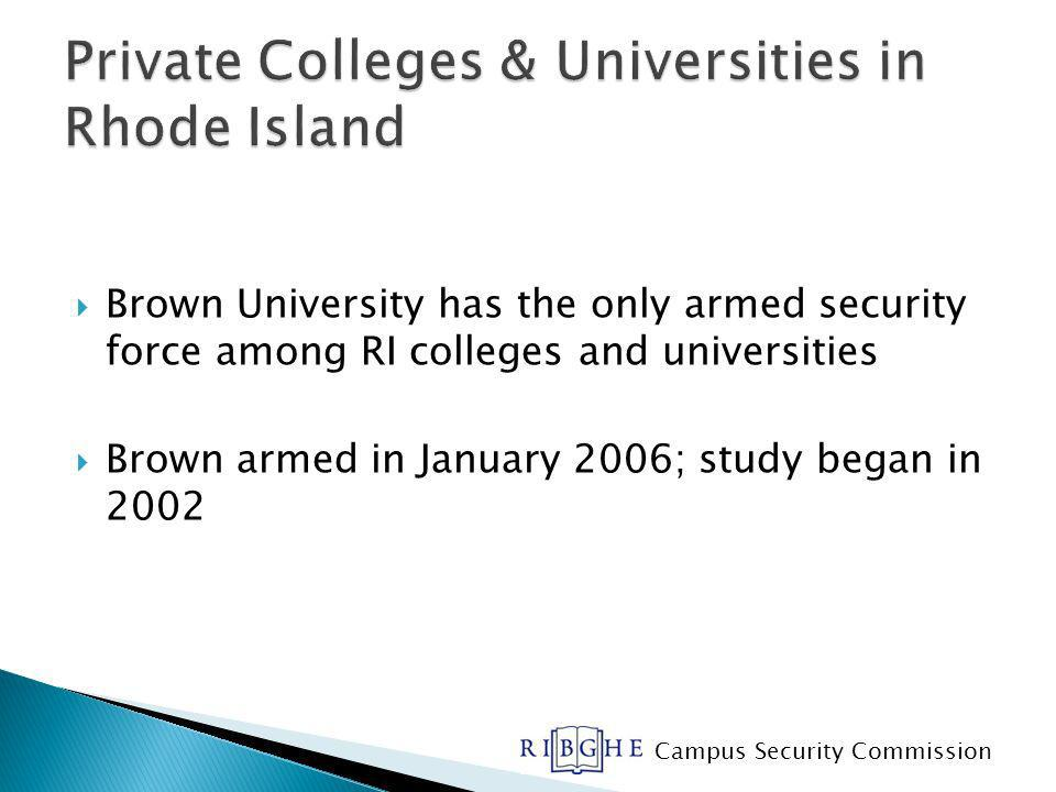 Brown University has the only armed security force among RI colleges and universities Brown armed in January 2006; study began in 2002 Campus Security Commission