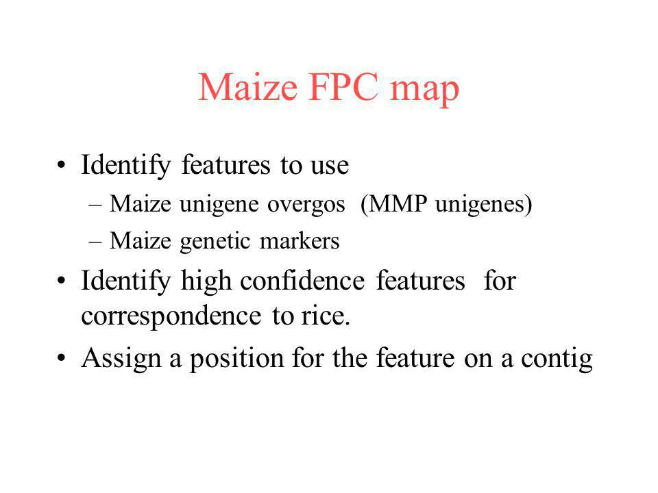 Maize FPC map Identify features to use –Maize unigene overgos (MMP unigenes) –Maize genetic markers Identify high confidence features for corresponden