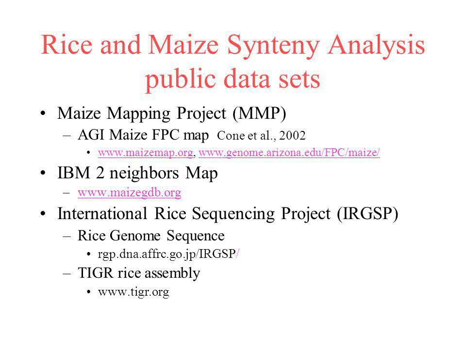 Rice sequenced based maps Cereal genetic and FPC maps Establish common anchor points between the genetic and physical maps Extend information available from the genetic maps of each species to the physical maps (leverage work of genetic systems) –Quantitative Trait Loci (QTL) and Mutants Leverage synteny of cereal genomes in the absences of complete sequence