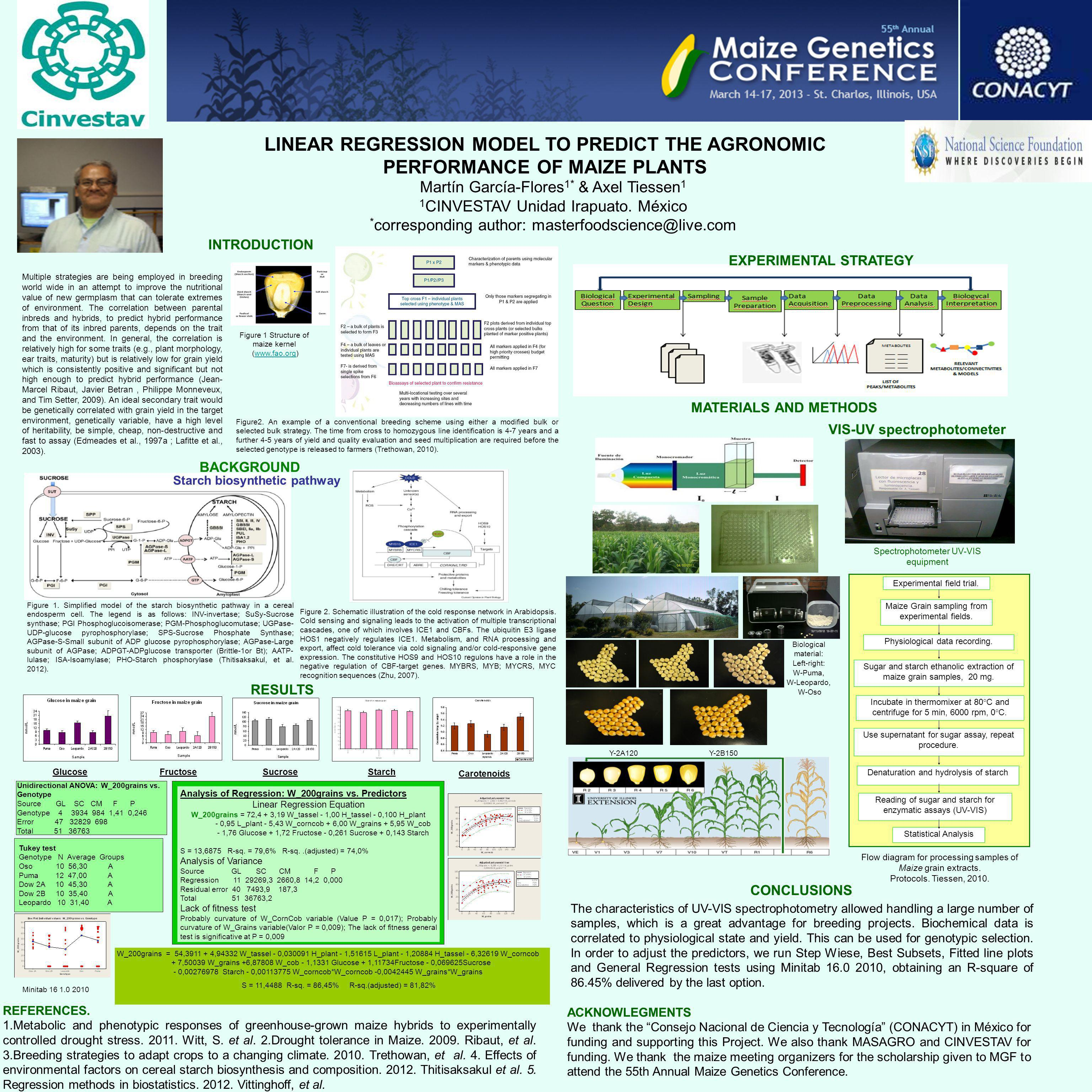 LINEAR REGRESSION MODEL TO PREDICT THE AGRONOMIC PERFORMANCE OF MAIZE PLANTS Martín García-Flores 1* & Axel Tiessen 1 1 CINVESTAV Unidad Irapuato.